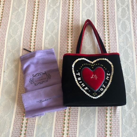Lulu Guinness Handbags - Lulu Guinness Velvet Think Of Me Handbag